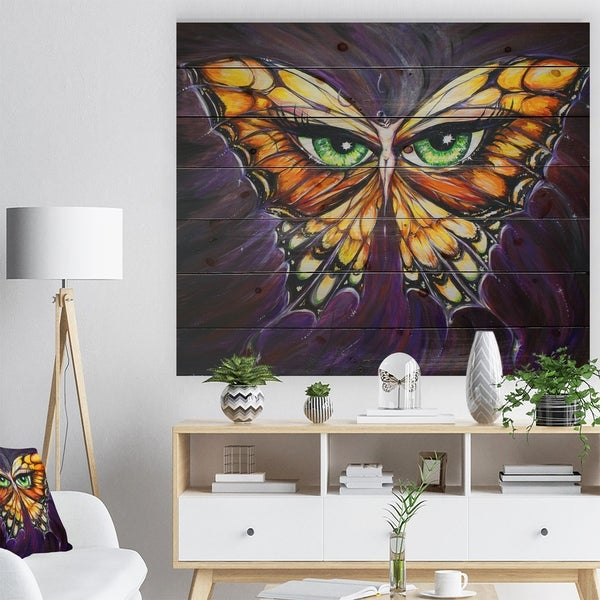Designart 'Butterfly with Eyes in Wings' Contemporary Animals Painting Print on Natural Pine Wood - Purple