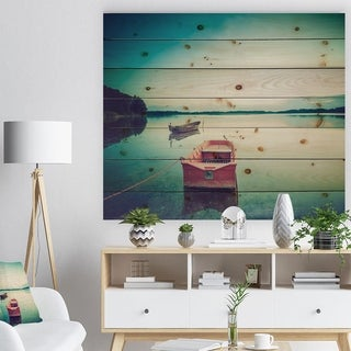 Designart 'Pink Boat in Vintage Lake' Boat Print on Natural Pine Wood - Pink