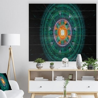 Designart 'Cabalistic Turquoise Fractal Sphere' Abstract Print on Natural Pine Wood - Multi-color