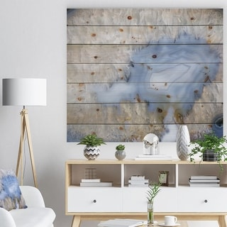 Designart 'Blue agate -Stone Print on Natural Pine Wood - Blue
