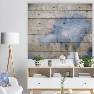 'Blue agate -Stone Print on Natural Pine Wood - Blue