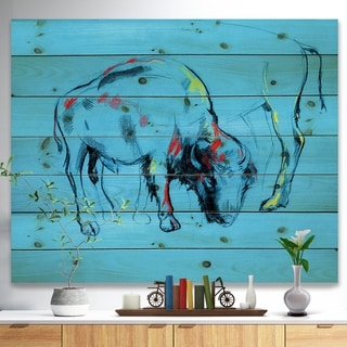 Designart 'Buffalo painting in Blue background' Animals Sketch Painting Print on Natural Pine Wood