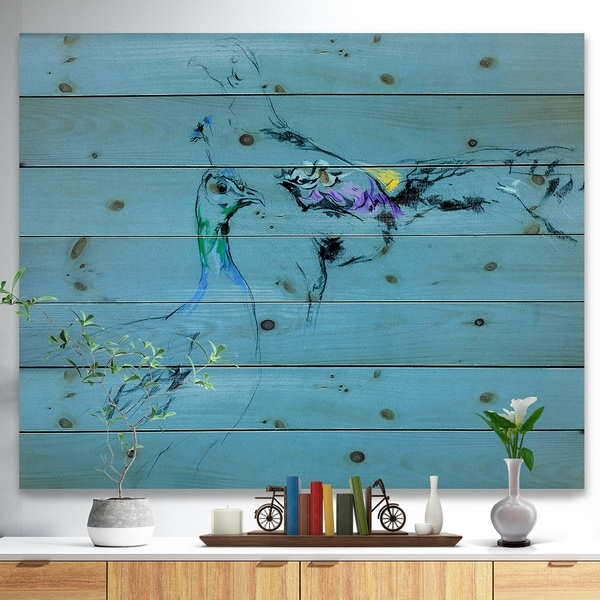Designart 'Peacock and peahen sketch' Animals Sketch Painting Print on Natural Pine Wood - Blue