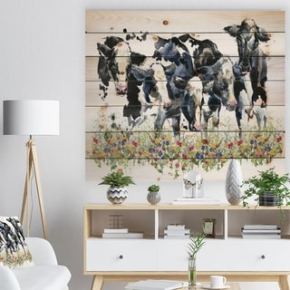 Designart 'Dairy cow on the field watercolor illustration.' Farmhouse Animal Painting Print on Natural Pine Wood - White