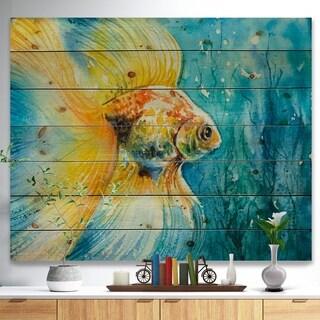 Designart 'Goldfish in water' Animals Painting Print on Natural Pine Wood - Blue