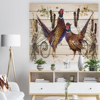 Designart 'Group of Bird pheasant watercolor illustration' Farmhouse Animal Painting Print on Natural Pine Wood - White