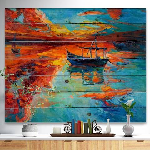 36dcf1d077429 Designart 'Fishing Sailing Boat at Red Sunset' Sea & Shore Painting Print  on Natural