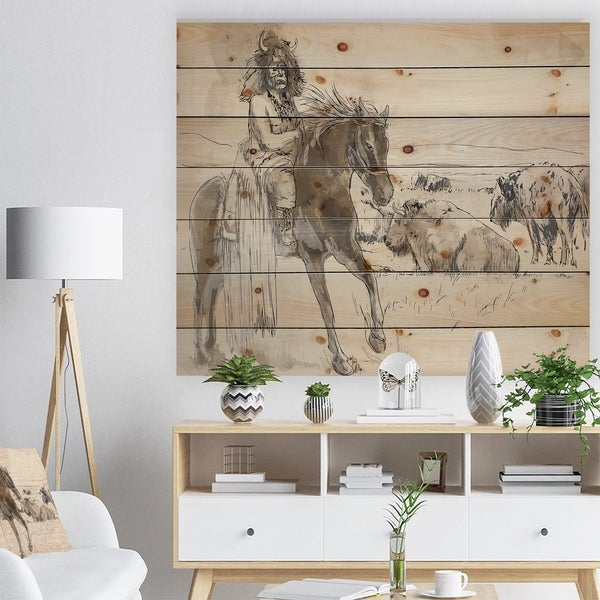 Designart 'Indian Chief Riding Horse' Sketch of Indian Animals Painting Print on Natural Pine Wood - Brown
