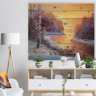 Designart 'Painting winter forest' Landscapes Painting Print on Natural Pine Wood - White