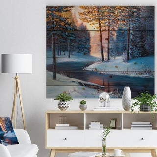 Designart 'River in Sunset Winter Forest' Landscapes Painting Print on Natural Pine Wood - White