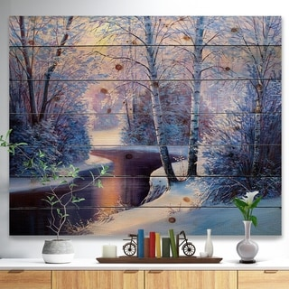 Designart 'Winter Forest in River Sunset' Landscapes Painting Print on Natural Pine Wood - White