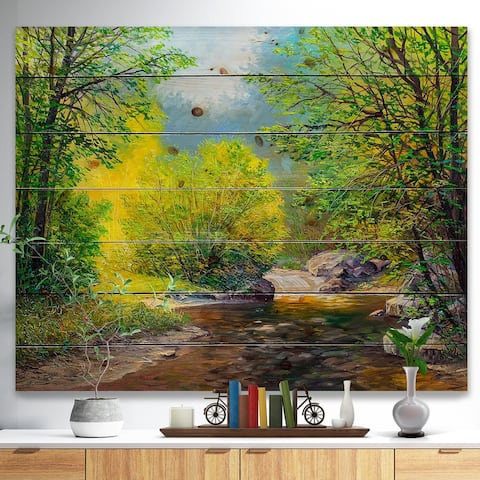 Designart 'Summer Forest in Beautiful River' Landscapes Painting Print on Natural Pine Wood - Green