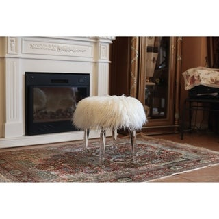 Best Quality Furniture Round Acrylic Faux Fur Ottoman