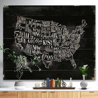 'United States Chalk Vintage Map' Maps Painting Print on Natural Pine Wood - Black