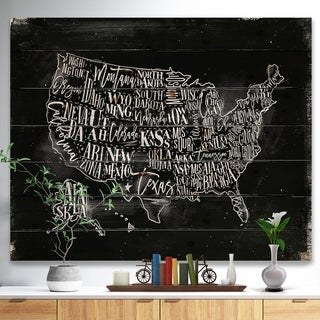 Designart 'United States Chalk Vintage Map' Maps Painting Print on Natural Pine Wood - Black