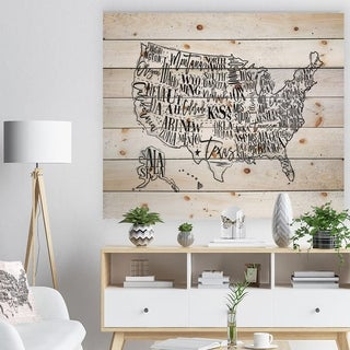 Designart 'United States Vintage Map in Dirty Paper' Maps Painting Print on Natural Pine Wood - White