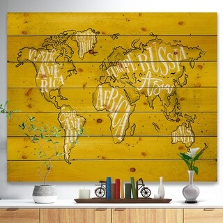 Designart 'Vintage Yellow Worldmap' Maps Painting Print on Natural Pine Wood - Multi-color