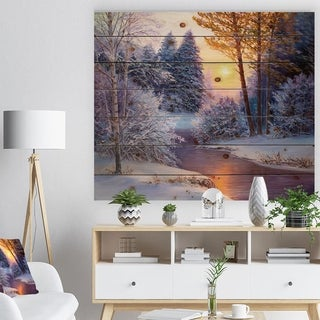 Designart 'Winter Forest in River' Landscapes Painting Print on Natural Pine Wood - White