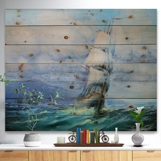 Designart 'Large Sailboat' Sea & Shore Painting Print on Natural Pine Wood - Blue