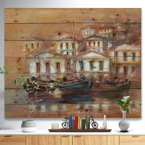 Designart 'Three Old Fishing Boats in harbor' Sea & Shore Painting Print on Natural Pine Wood - Brown