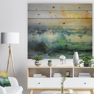 Designart 'Small Wave in Sea Sunset' Contemporary Sea & Shore Painting Print on Natural Pine Wood - Green