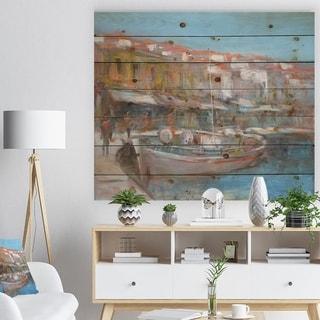 Designart 'Fishing boat in Croatian Coast' Sea & Shore Painting Print on Natural Pine Wood - Blue