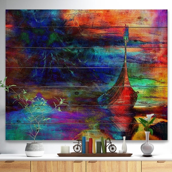 Designart 'Boat with Wood Dragon' Sea & Shore Painting Print on Natural Pine Wood - Blue