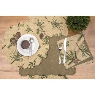 Sierra Retreat Rustic Cotton Quilted Placemat Set of 6 - N/A