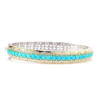 Michael Valitutti Palladium Silver Cushion Shaped Sleeping Beauty Turquoise Hinged Bangle Bracelet