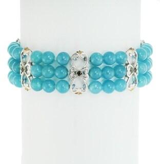 Michael Valitutti Palladium Silver Aquamarine & Blue Sapphire Bracelet