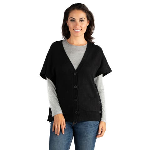 24/7 Comfort Apparel V-Neck Knit Pocket Poncho with Side Buttons