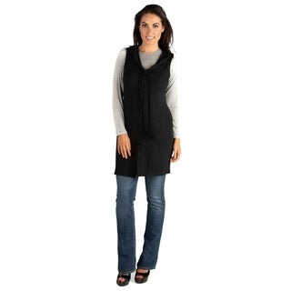 24/7 Comfort Apparel Long Sleeveless Cardigan Hoodie With Pockets