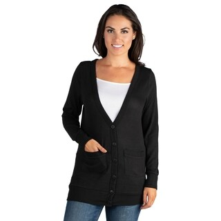 24/7 Comfort Apparel Casual Comfort V-neck Pocket Cardigan