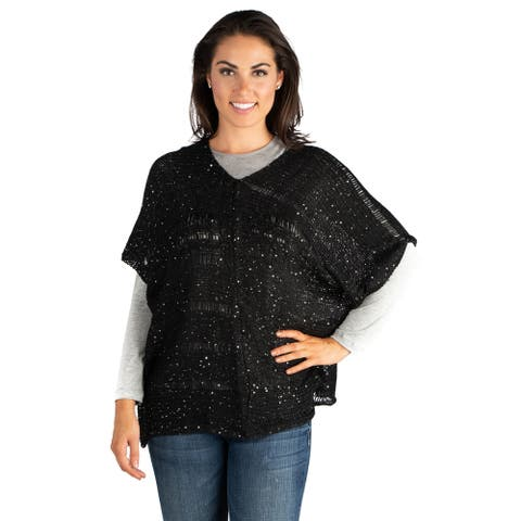 24/7 Comfort Apparel Sparkly Poncho Dolman Sheer Sweater Top