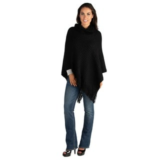 24/7 Comfort Apparel Fringe Womens Cowl Neck Poncho Sweater