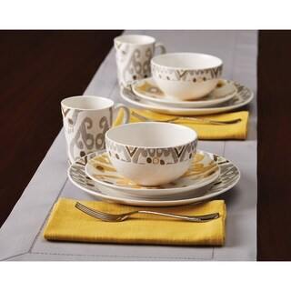 Rachael Ray Ikat Stoneware Dinnerware Set, 16-Piece, Yellow/Gray