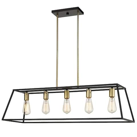 OVE Decors Agnes II 5-Light LED Matt Black & Light Gold Finish Pendant Light