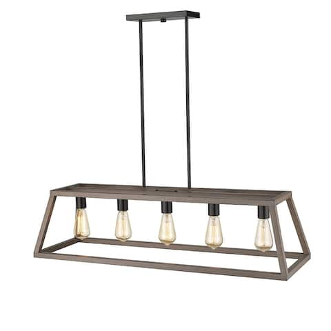 OVE Decors Agnes II 5-Light LED Wood Painting & Matt Black Finish Pendant Light