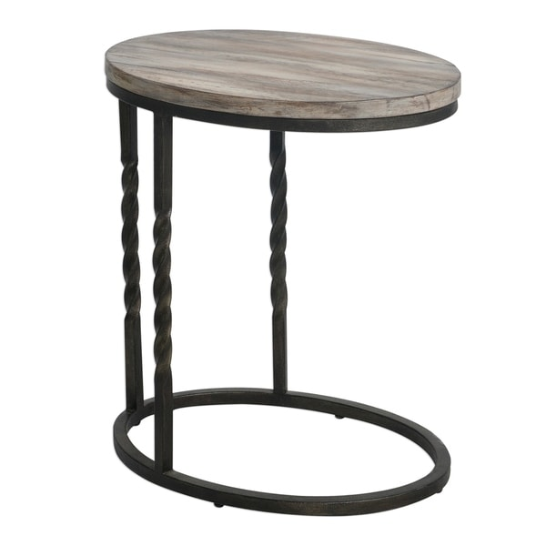 Uttermost Tauret Cantilever Textured Aged Steel Side Table