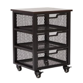 OSP Home Furnishings Garret 3 Drawer Rolling Cart with Espresso Wood Top and Black Finish