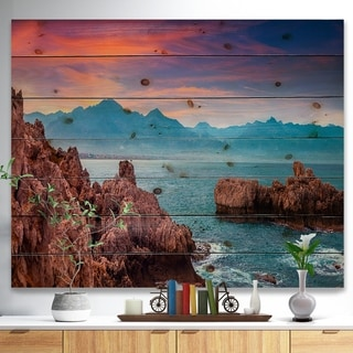 Designart 'Sunrise on Barbor Milazzo Panorama' Landscape Print on Natural Pine Wood - Multi-color