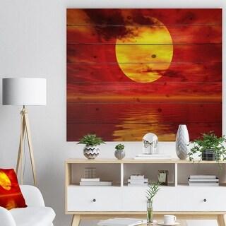 Designart 'Golden Sun Sinking in Red Waters' Seashore Print on Natural Pine Wood