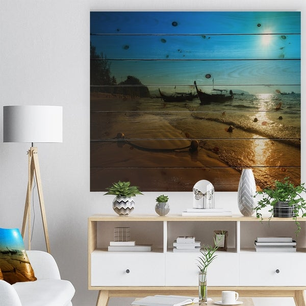 Designart 'Sunset with Boats in Andaman Sea' Modern Seascape Print on Natural Pine Wood - Blue