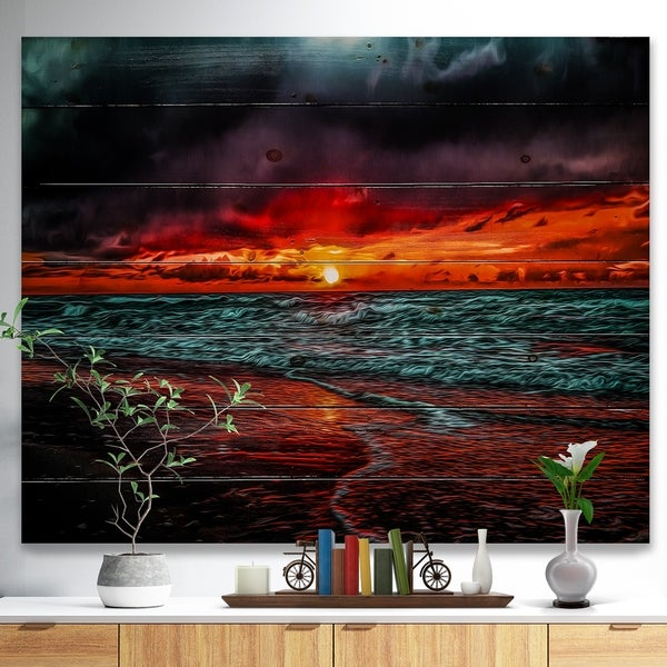 Designart 'Red Sunset over Blue Waters' Seascape Print on Natural Pine Wood - Red