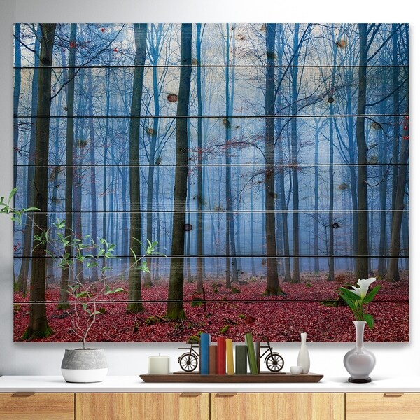 Designart 'Foggy Forest in Blue and Pink Photo' Modern Forest Print on Natural Pine Wood