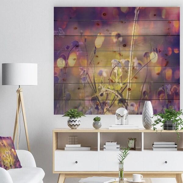 Designart 'Beautiful Flowers in Meadow' Floral Print on Natural Pine Wood - Purple