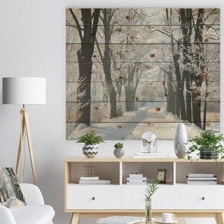 Designart 'Country Road Between Foggy Trees' Forest Print on Natural Pine Wood - White