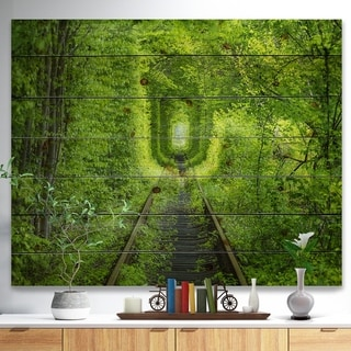 Designart 'Forest around Rail Way Tunnel' Landscape Print on Natural Pine Wood - Multi-color