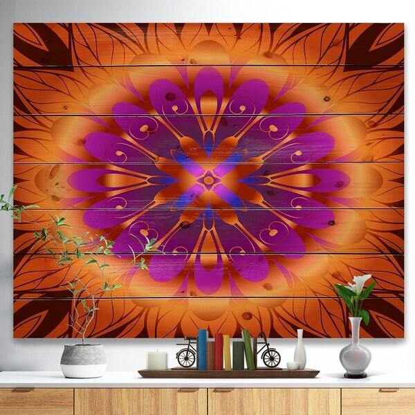 Designart 'Floral Infinity Design in Orange' Floral Print on Natural Pine Wood - Orange