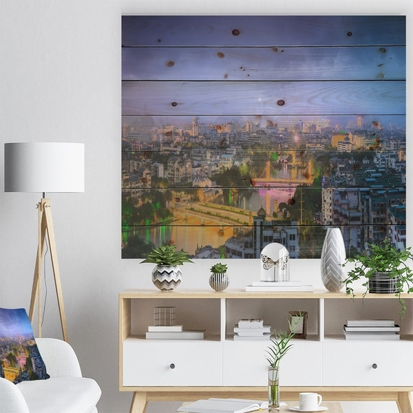 Designart 'Li River and Karst Hills Panorama' Cityscape Print on Natural Pine Wood - Multi-color